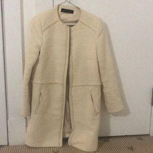 Cream Zara coat with fray detailing